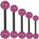 SkinArt Piercing Bar Black Titanium 1,6 mm, Multi Crystal Ball Pink...