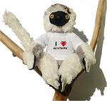 Plush Sifaka Lemur Toy with I love Alistaire t-shirt (first name/surname/nickname)