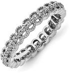 3.5mm Sterling Silver Stackable Expressions Rhodium Carved With Dia...