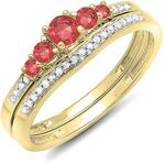 10K Yellow Gold Round Ruby & White Diamond 5 Stone Bridal Engagement Ring Band Set (Size 4.5)