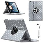TOPGADGETSUK LEATHER 360 DEGREE ROTATING STAND CASE COVER FOR APPLE IPAD MINI & MINI 2 WITH WAKE SLEEP INC SCREEN PROTECTOR & PEN (GREY POLKA)